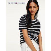 Tommy Hilfiger női pamut póló fekete fehér csíkos mintával