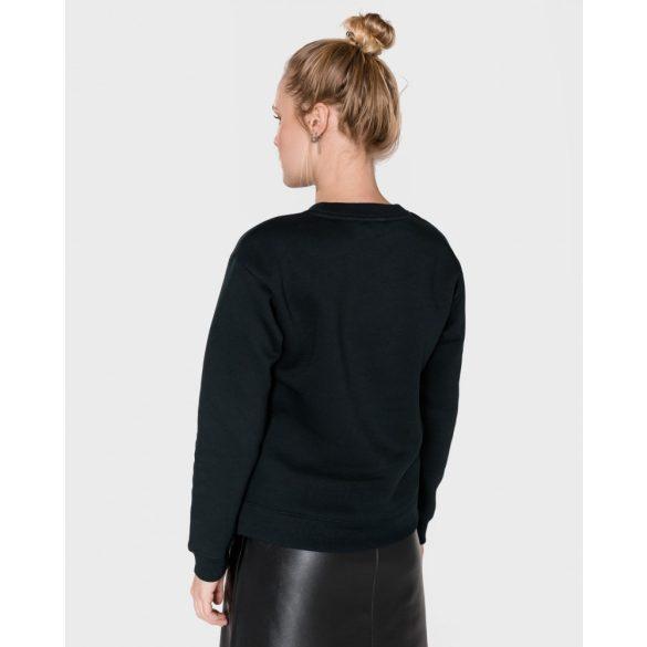Tommy Hilfiger női pamut pulóver elején flitteres tintával fekete színben