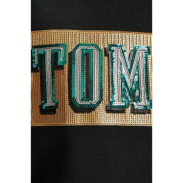 Tommy Hilfiger női pamut pulóver elején flitteres mintával fekete színben