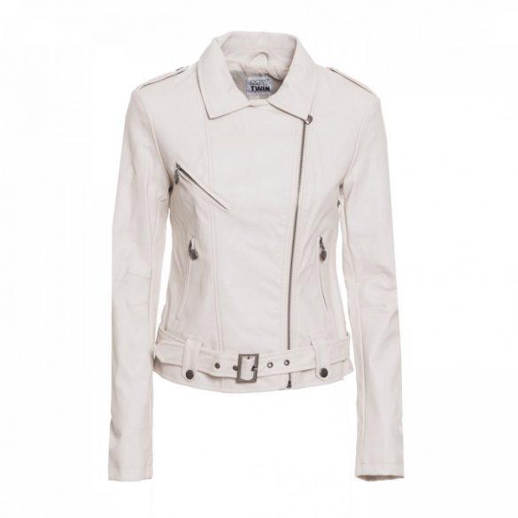 Twinset női motoros fazonú műbőr kabát törtfehér színben