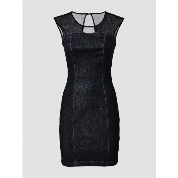 Guess női stretch anyagú farmer ruha fekete színben