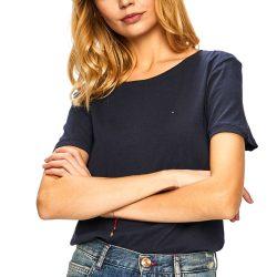 Tommy Jeans női környakú pamut póló sötétkék színben