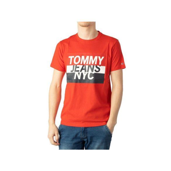 Tommy Jeans férfi pamut póló elején logó mintával piros színben