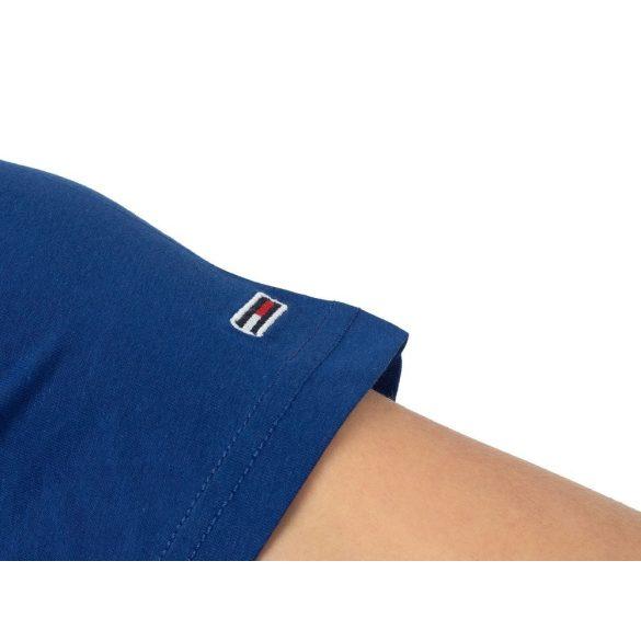 Tommy Jeans férfi pamut póló elején logó mintával királykék színben