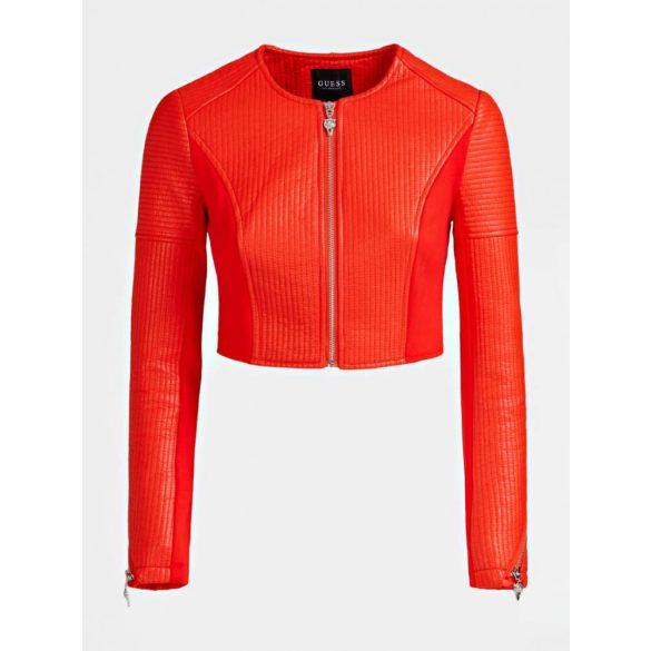 Guess női ecoleather boleró kabát korallpiros színben