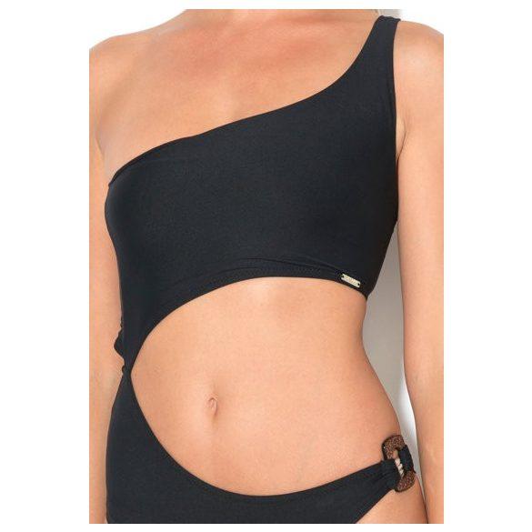 Guess női fürdőruha egy vállpánttal fekete színben
