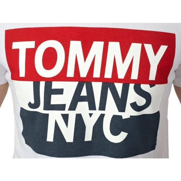 Tommy Jeans férfi pamut póló fehér színben elején logó mintával