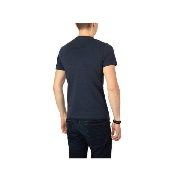 Tommy Jeans férfi pamut póló navykék színben elején logó mintával