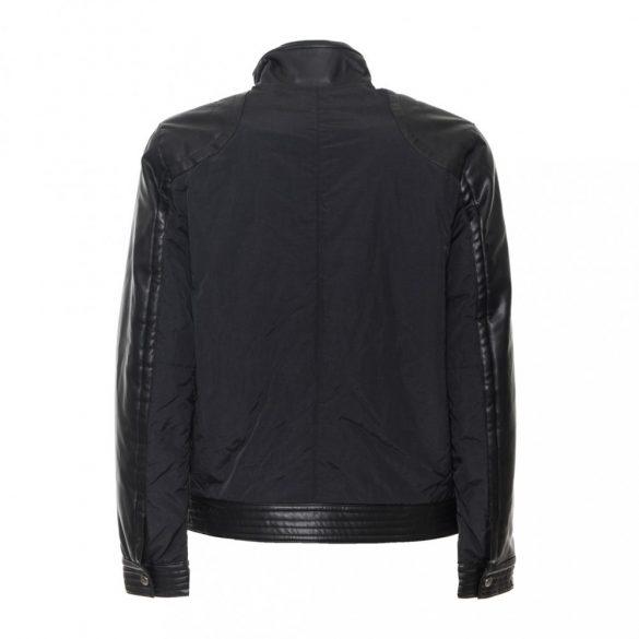 Trussardi Jeans férfi átmeneti kabát bőr betétekkel fekete színben