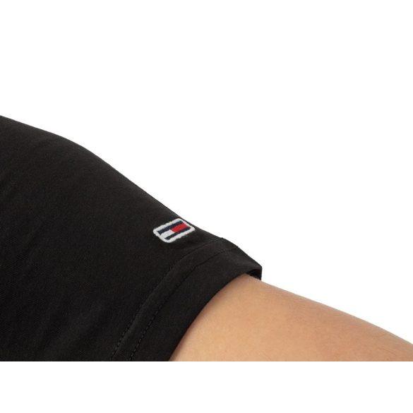 Tommy Jeans férfi pamut póló elején mintával fekete színben