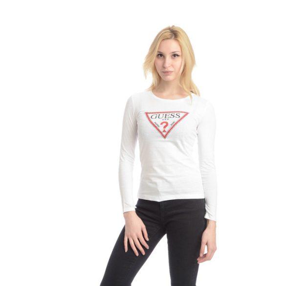 Guess női hosszú ujjú pamut póló elején szegecses díszítéssel fehér színben