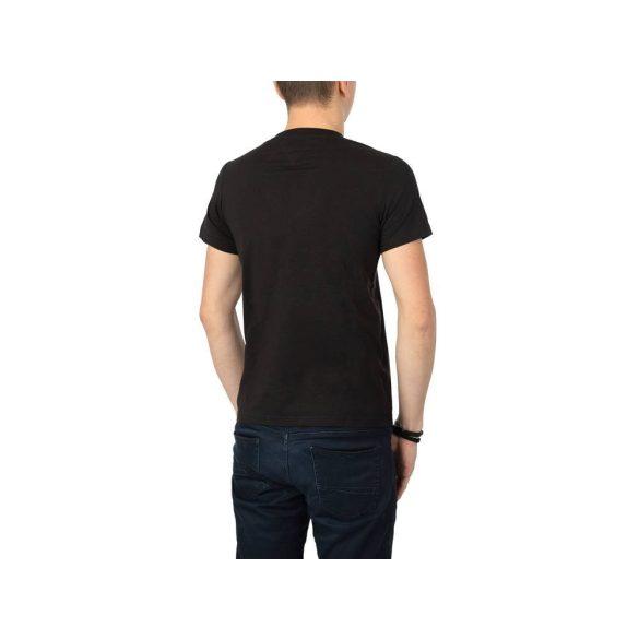 Tommy Jeans férfi pamut póló fekete színben elején logó mintával