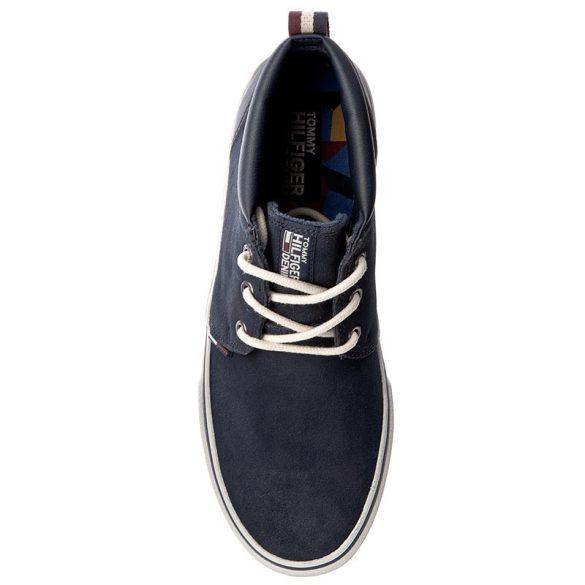 Hilfiger Denim férfi bvelúr bőr sneaker sötétkék színben