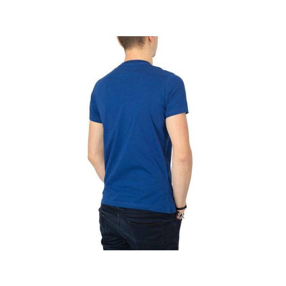 Tommy Jeans férfi pamut póló elején logó mintával kék színben