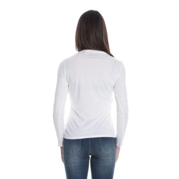 Guess Icon női hosszú ujjú felső elején nagy méretű logóval fehér színben