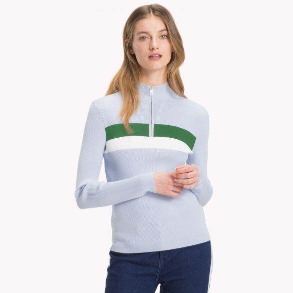 Tommy Hilfiger női cipzáras garbó pulóver világoskék színben