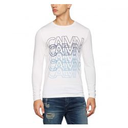Calvin Klein Jeans férfi hosszú újjú póló felirattal fehér színben
