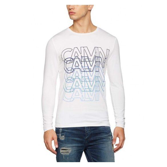 7af3db75c7 Calvin Klein Jeans férfi hosszú újjú póló felirattal fehér színben ...