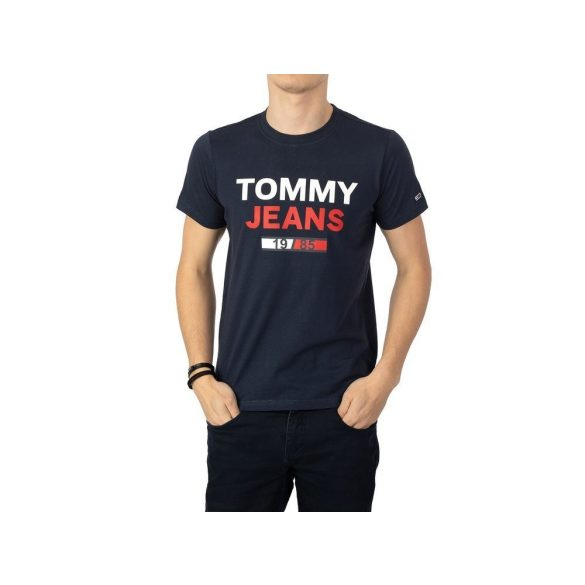 Tommy Jeans férfi pamut póló sötétkék színben elején logó mintával