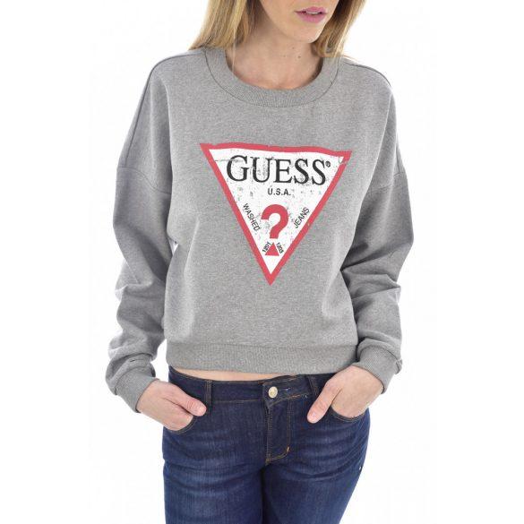 Guess női denevér ujjú lezser pamut pulóver logó mintával szürke színben