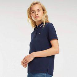 Tommy Jeans női galléros póló csíkozott gallérral sötétkék színben