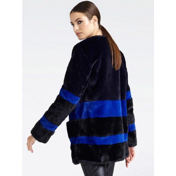 Guess női hosszított szőrme kabát fekete színben kék csíkokkal