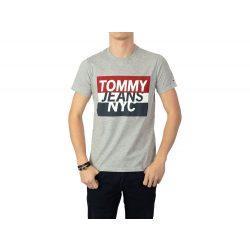 Tommy Jeans férfi pamut póló szürke színben elején logó mintával